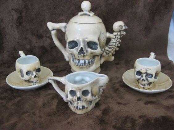 Rare Antique Late 1800's SKULLS Fine Porcelain Teapot Tea Cup Saucer & Creamer: