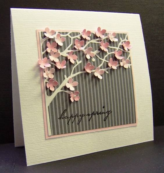 *CC363 Pink Flowering Tree by hobbydujour - Cards and Paper Crafts at Splitcoaststampers