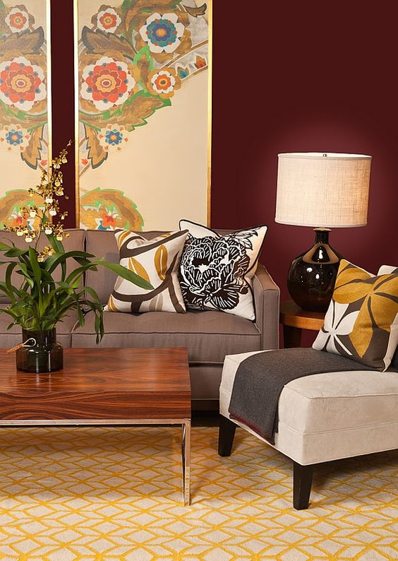 Great art - mustard, green, brown - living room