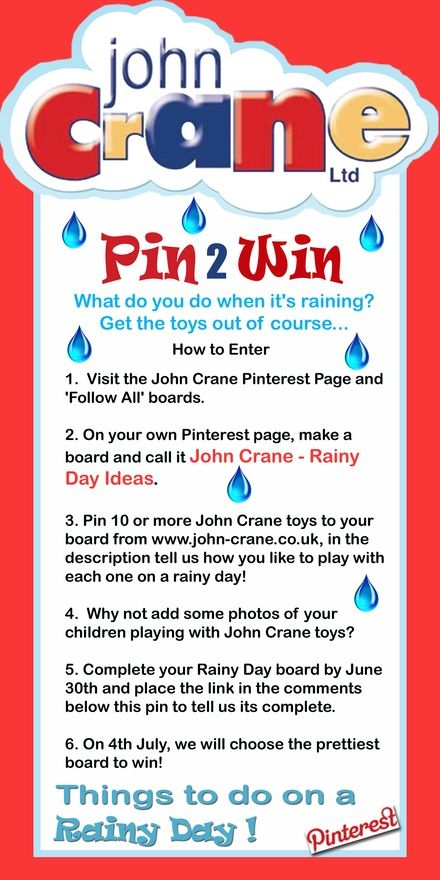 How to enter...... add #johncranerainydays to twitter, lets see some super duper pretty pinboards.... pin-win