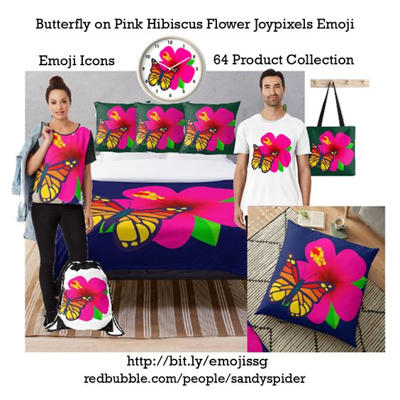 Butterfly on Pink Hibiscus Flower Joypixels Emoji