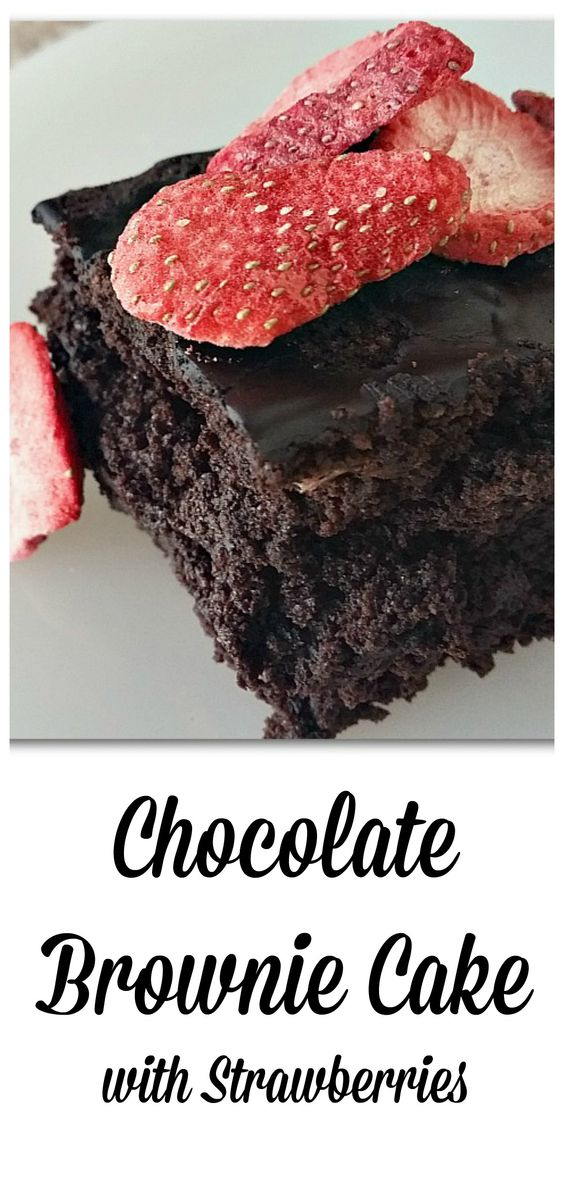 Boozy Brownie Cake with Strawberries -- chocolate overload!