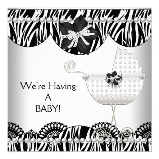 We're Having A BABY! Black White Zebra Expecting Personalized Invitation