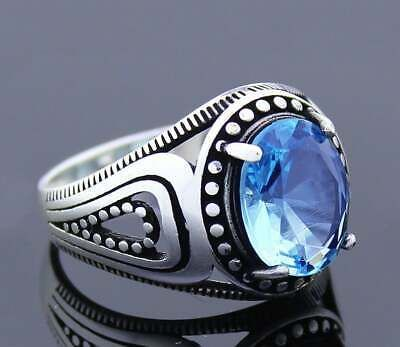Mercedes Benz Solid 925 K Sterling Silver Zircon Gemstone Mens Ring AAA Quality