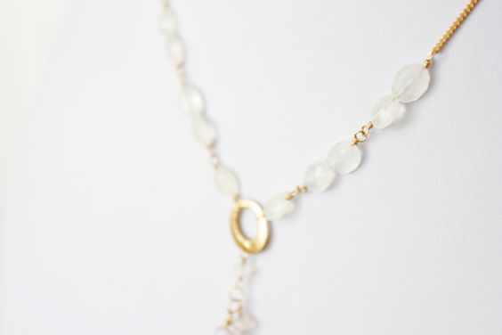 Gold V-Neck Rainbow Moonstone Cascade Necklace by taylormoseley