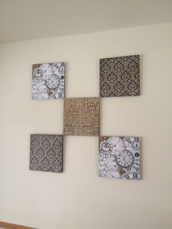 Scrap book paper adhered to foam boards. Easy and cheap way to dress up a wall!