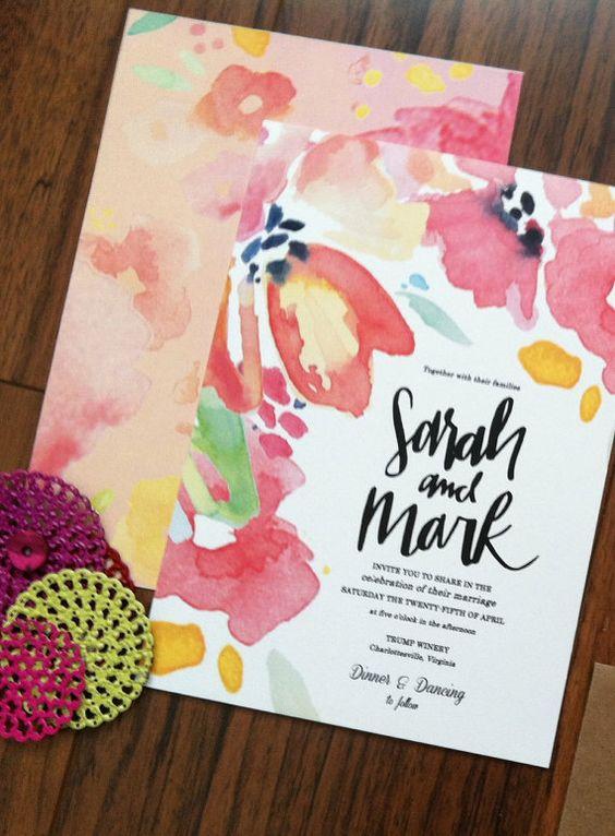 Custom Watercolor Wedding Invitation Design Hand by Makewells – Custom Invitations Wedding