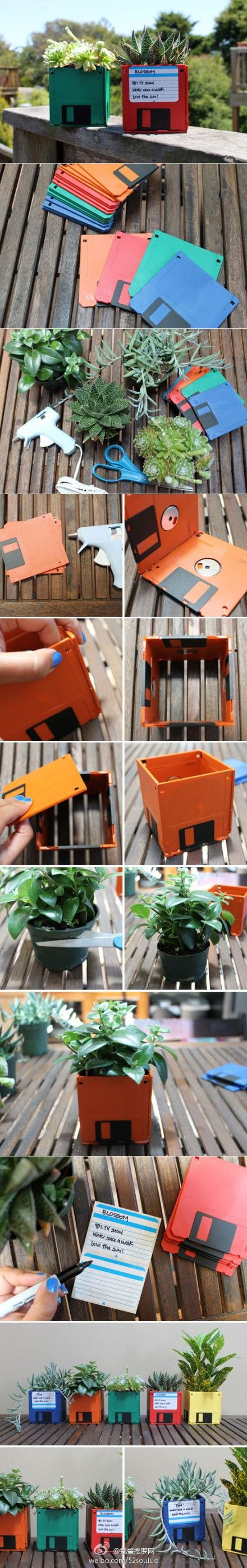 DIY Floppy Disk Planter: