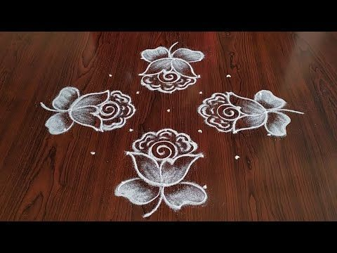 Easy Rose Flowers Rangoli 7 3 3 Dots Dots Easy Flowers Rangoli Rose Dotsdots Easy Flower In 2020 Simple Rose Rangoli Designs With Dots Rangoli Patterns