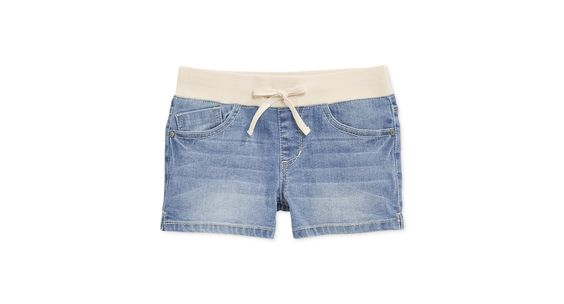 Imperial Star Girls' Ribbed-Waistband Denim Shortie Shorts