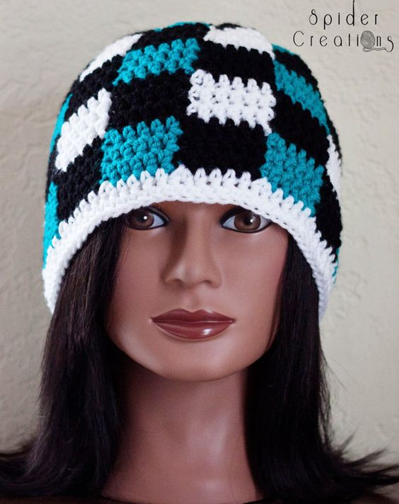 Turquoise, Black, and White Gingham/Plaid Beanie Hat. $18.00, via Etsy.