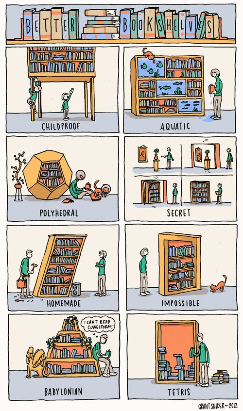 """Better Bookshelves"" Grant Snider:"
