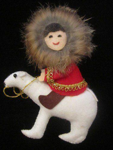 GoldenDaysGoneBy is having a SALE! 20% off all items in the shop!  Christmas Ornament Collectible Fur Eskimo Polar Bear Handmade Alaska