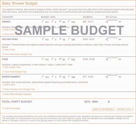 Budget Budget Calculator And Parties On Pinterest