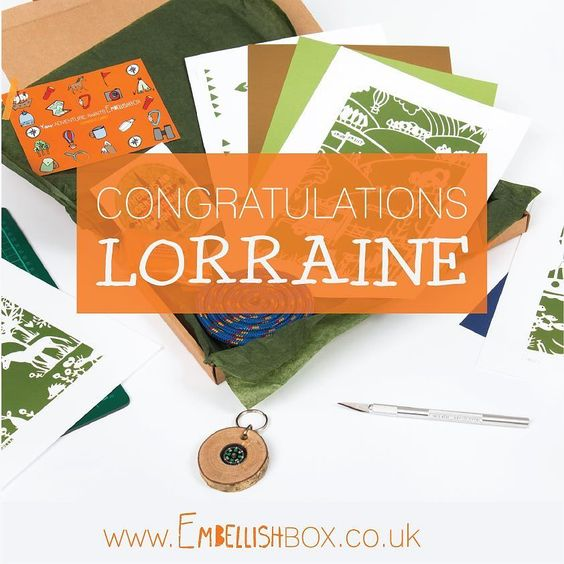 Congratulations to Lorraine who won the very last Adventure Awaits #embellishbox :)