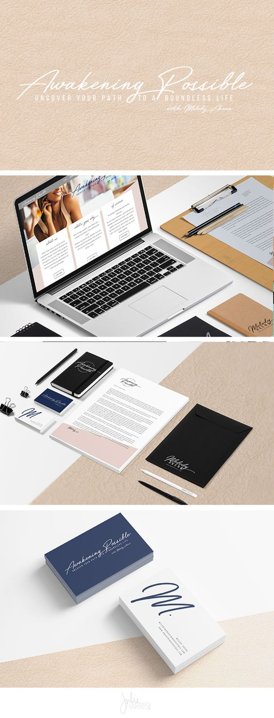 Branding and Website Design Brand Identity for Awakening Possible by Julie Harris Design