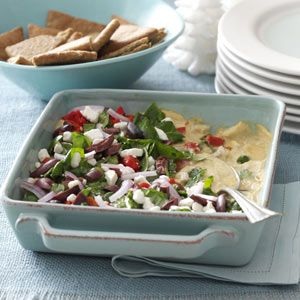 Mediterranean Layered Dip -starts with 'from scratch' hummus. See Mccormick Cumin container. Delicious!