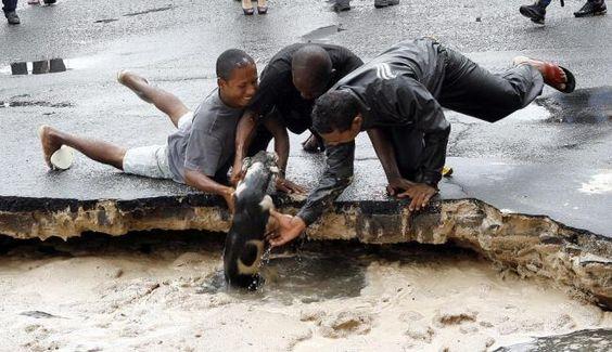 Rapazes salvam cachorro chutado para buraco no Uruguai. O buraco aberto no Uruguai depois do rompimento do interceptor da Embasa revelou dois aspectos da índole humana. Um cachorrinho que passava próximo à cratera foi chutado para dentro por um pedestre, mas três rapazes correram para socorrer o animal e o salvaram.