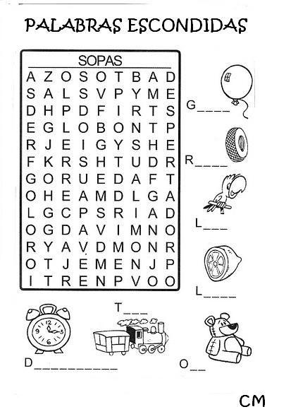 Página con diferentes sopas de letras