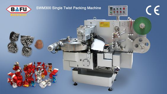 SWM300 Single Twist packing machine, the wrapping speed can up to 400 per minute, depending on product. Machine of modern design, easy to clean and easy for maintenance. Fitted with double brush feed plate system, double paper feed reel holder for inner wrap or speedy change over of reels, air assisted paper feed system, electronic optical eye for no product no film sensor. Taizhou Bafu Machinery Co.,Ltd. http://www.bafupack.com,  email : info@bafupackaging.com, Call: +86-13806586424 .