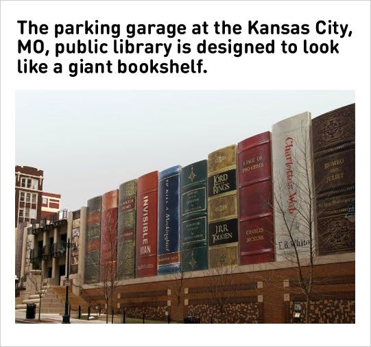 funny parking garage designed as giant bookshelf
