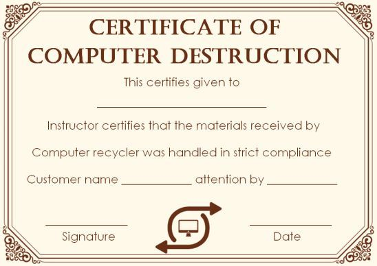 10 Hard Drive Certificate Of Destruction Templates Useful For Audits In Your Company Free To Download Template Sumo Destruction Certificate Hard Drive