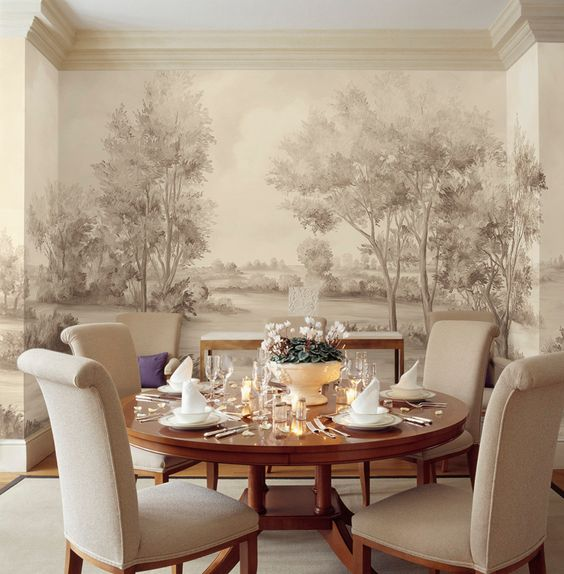 Cotswolds Earth wall mural (muralpapers) by Susan Harter in a dining room with round table. Come see Peaceful Timeless Trompe-l'oeil Wall Murals to Inspire as well as breathtaking design inspiration.