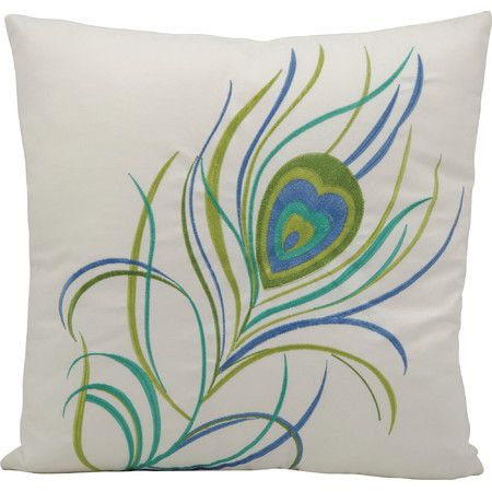Accent your deck seating group or patio lounger with this lovely pillow, showcasing a bright peacock feather design.   Product: ...