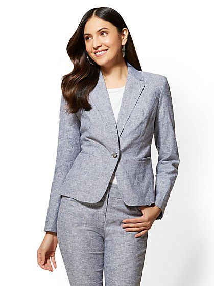 fdf27a234 7th Avenue - Navy One-Button Jacket - City Stretch Linen Flex - New York &  Company