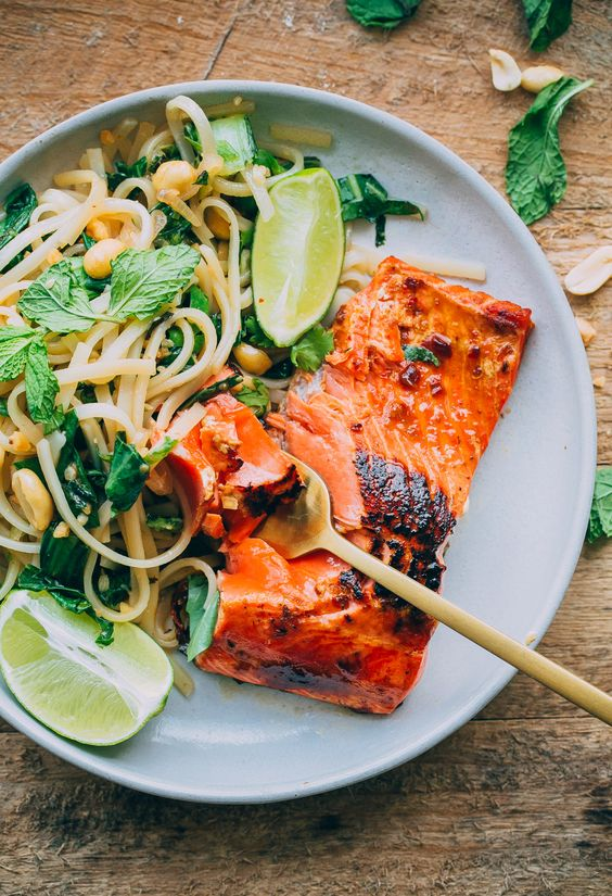 Thai Noodle Salad with Glazed Salmon. This flavor-packed main course recipe can be prepared in less than 45 minutes!: