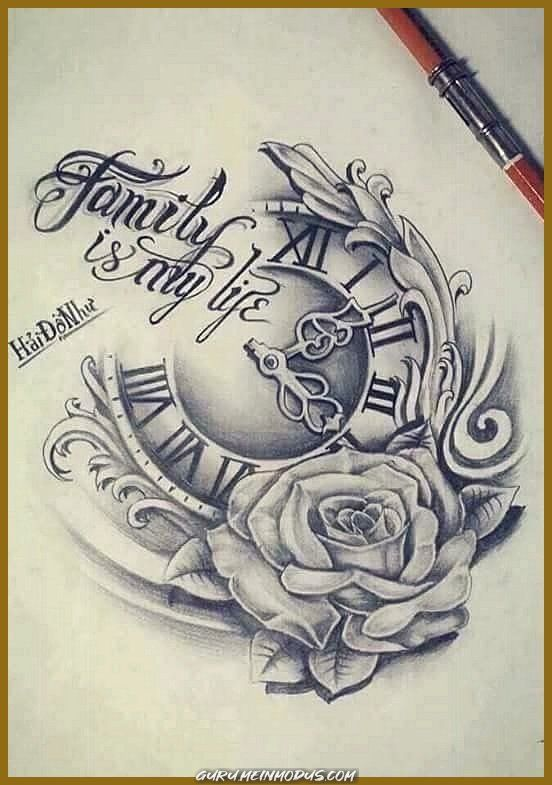 Uhr tattoovorlage Phönix Tattoo