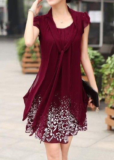 Burgundy Petal Sleeve Tie Neck Chiffon Tunic Dress