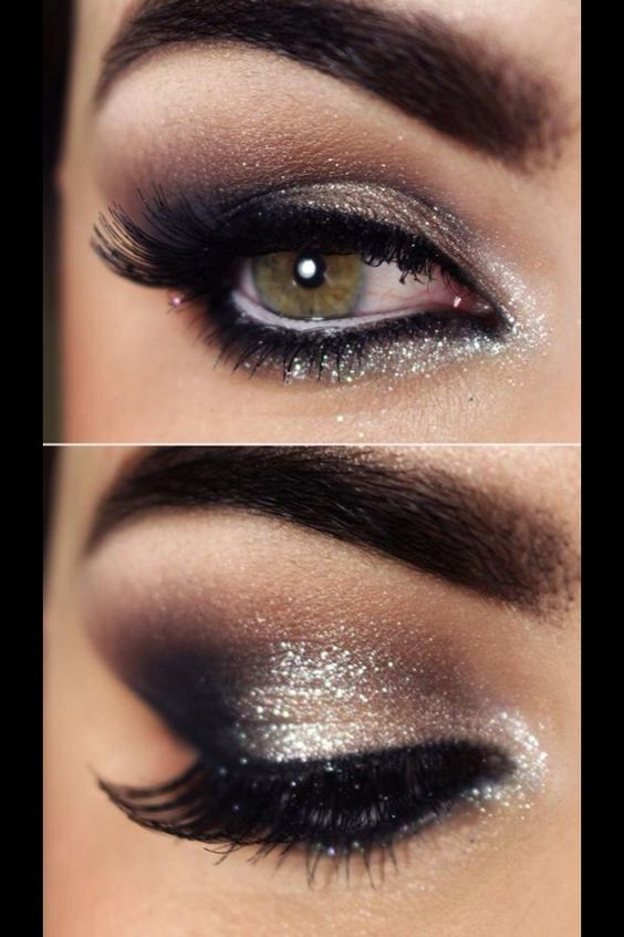 Glittery smoky eye