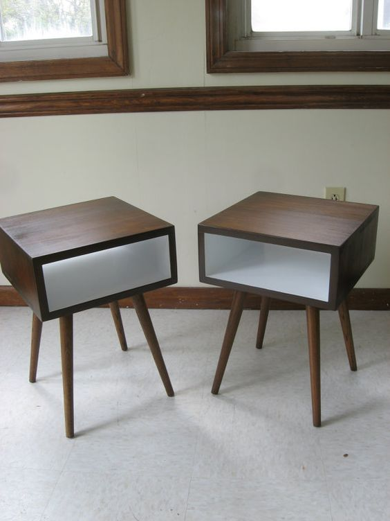 Mid Century Modern Nightstand Set. Mid Century Side Table Set