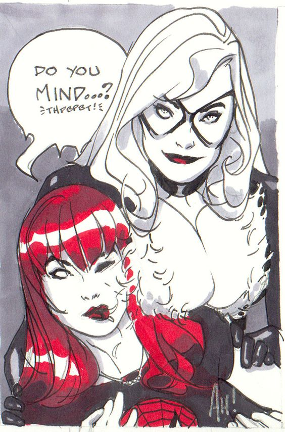 Mary-Jane Watson and Black Cat by Adam Hughes