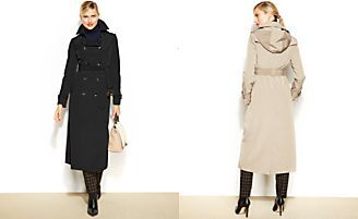 London Fog Petite Hooded Belted Maxi Trench Coat