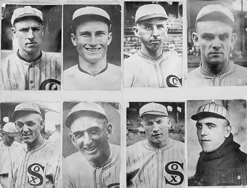 """The 8 members of The 1919 Chicago """"Black Sox"""" scandal.  Look like cast members of the The Walking Dead."""