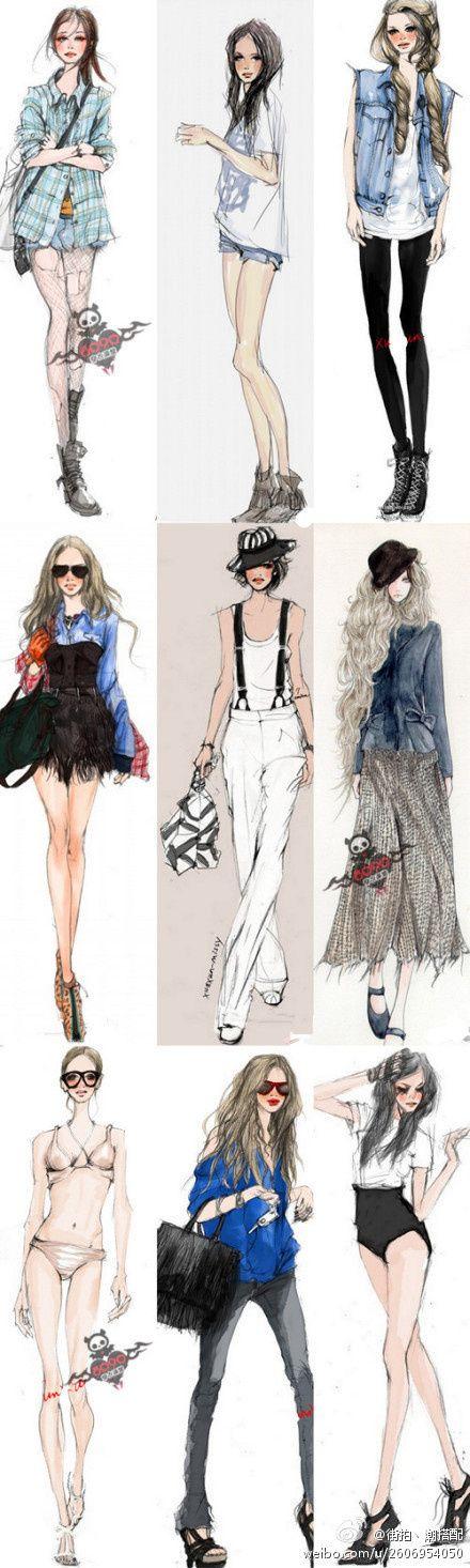 fashion designing clothing layout drawing                                                                                                                                                     More @chickenbelife