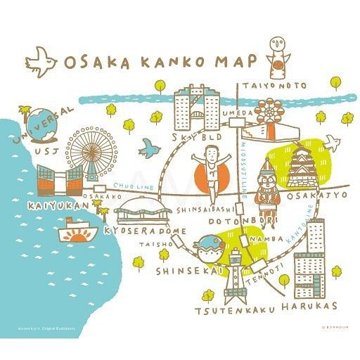 大阪の(おおまかな)地図のイラスト。 #map #illustmap #osaka ...