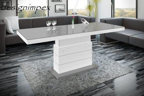 Design Couchtisch Tisch Matera Lux H 333 Grau Weiss Hochglanz