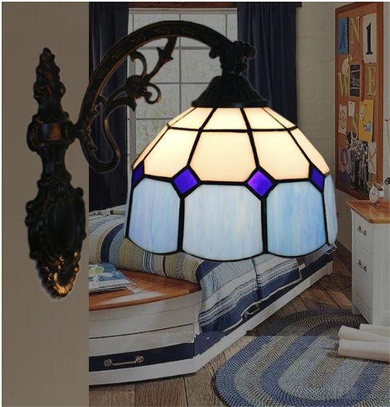 Tiffany lâmpada de parede, estilo europeu lâmpada de parede Barroco, 20 cm tiffany espelho lâmpada, luz de parede para varanda, quarto, corredor TEN W 005 em Luzes de parede de Iluminação no AliExpress.com | Alibaba Group
