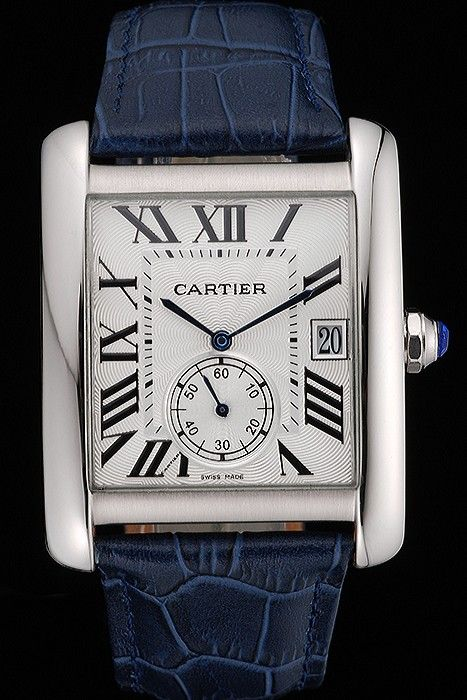 Cartier Tank MC White Dial Stainless Steel Case Blue Leather Strap 622575
