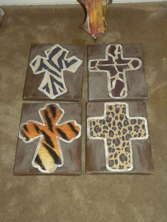 Weathered canvases with crosses
