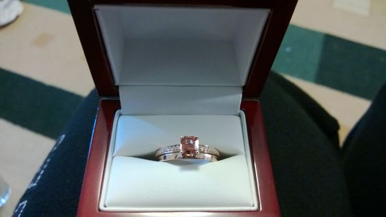 My gorgeous wedding set!! Peach sapphire set in rose gold. In LOVE!!!