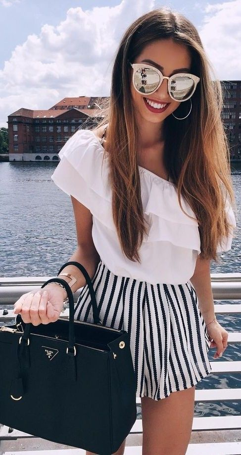 #summer #fun #outfitideas |  White + Stripes