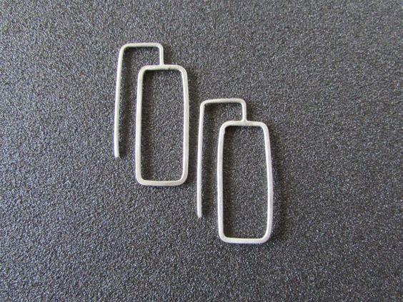 Rectangle Geometric Earrings Alternative by BlueMargaritaMetal