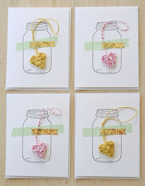 cards with stamped design, tapes and crochet heart