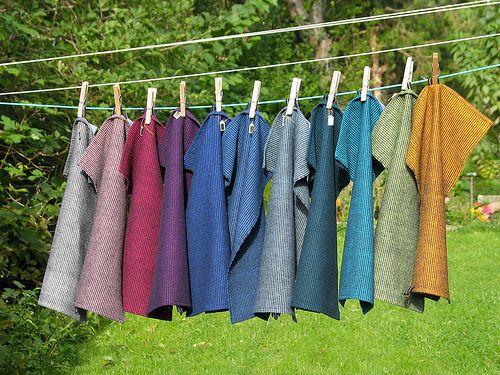 Handwoven towels. Black warp, change the weft colors.