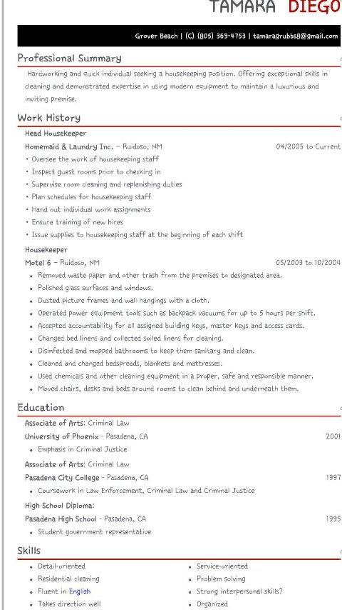 resume #housekeeper work related Pinterest Sample resume - sample resume for housekeeper