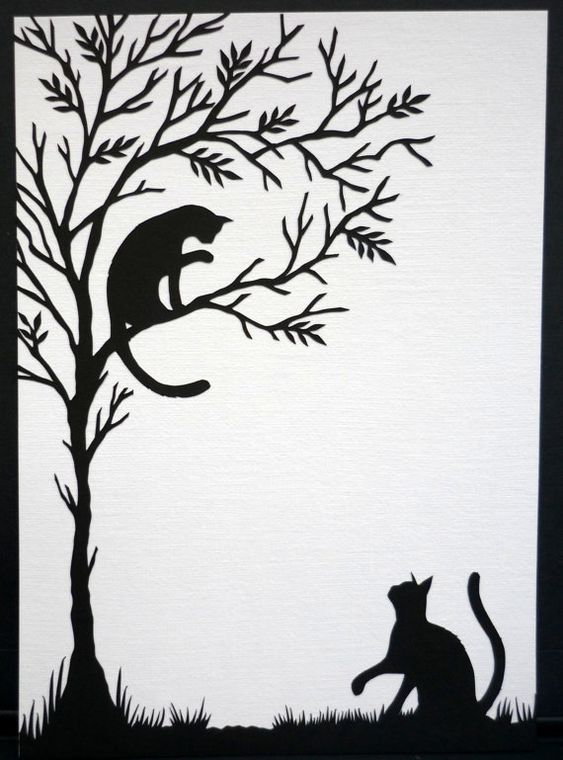Cats at play  Hand cut paper artwork by samaki on Etsy, $50.00: